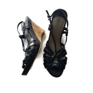 4 inch black wedges, sz 9